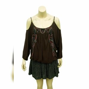 3277  Free People Bead Embellished  Blouse Top S